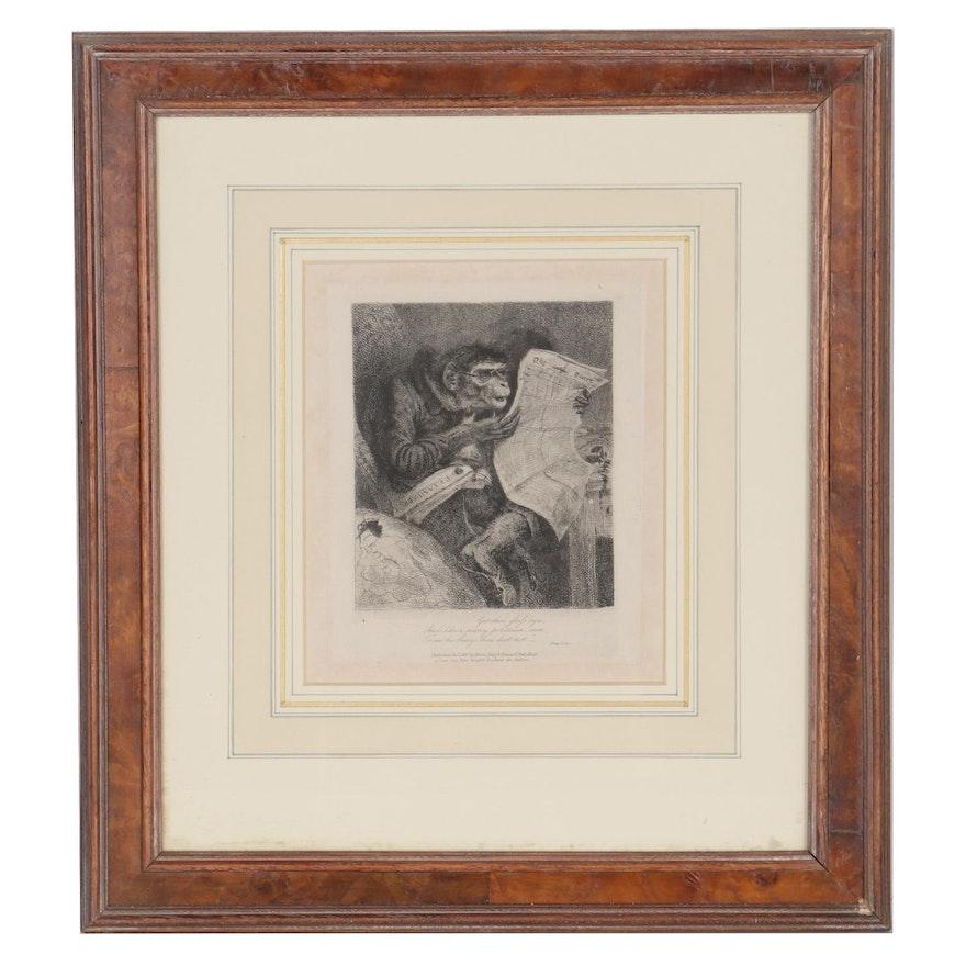 "Thomas Landseer Etching from ""Monkey-ana, or Men in Miniature"""