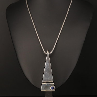 Sterling Silver Lapis Lazuli Geometric Pendant on Snake Chain Necklace