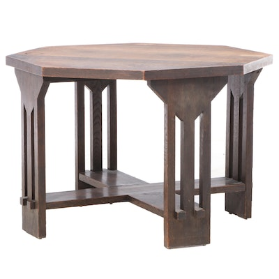 Lifetime Furniture Co. Arts & Crafts Octagonal Oak Dining Table, Early 20th C