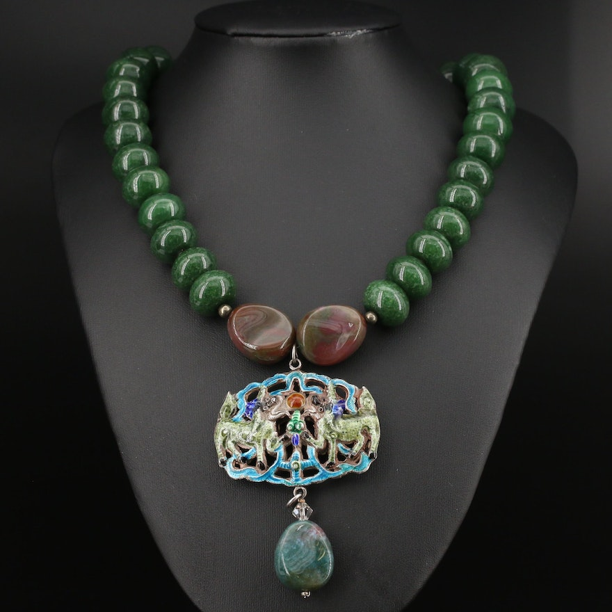 800 Silver Quartz, Agate and Enamel Mythical Beast Necklace
