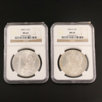 NGC Graded MS64 1883-O and 1884-O Morgan Silver Dollars