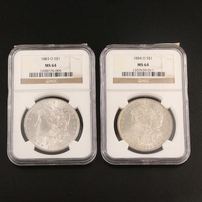 NGC Graded MS64 1883-O and 1884-O Morgan Silver Dollars