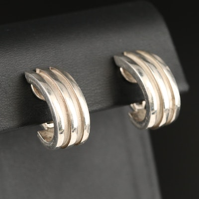 "Tiffany & Co. ""Atlas"" J Hoop Earrings in Sterling"