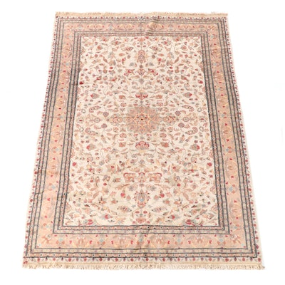 6'4 x 9'6 Hand-Knotted Indo-Persian Isfahan Wool Rug
