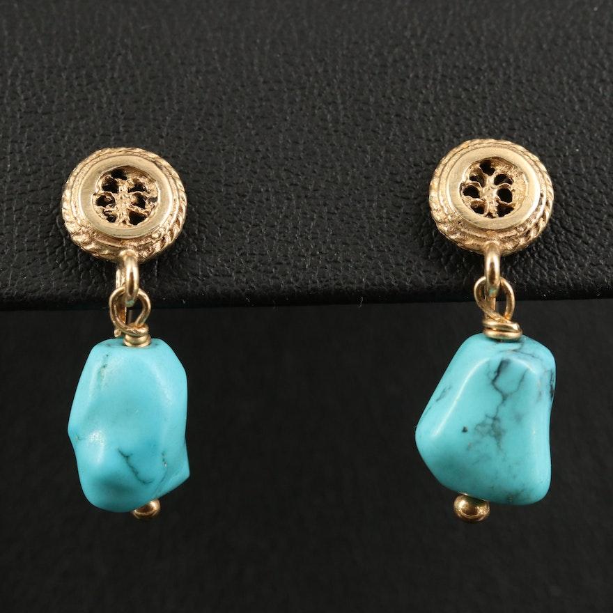 14K Turquoise Screw Back Drop Earrings
