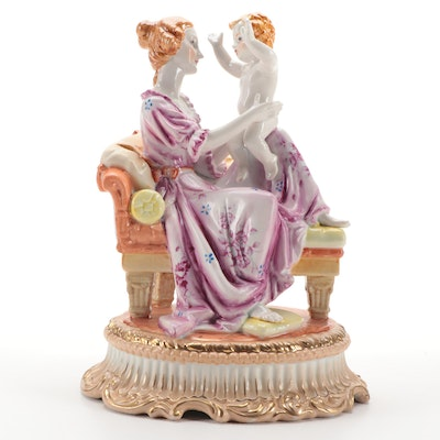 Richard Klemm Dresden Porcelain Mother and Child Figurine, Early-Mid 20th C.