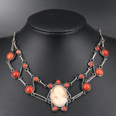 Vintage Sterling Silver Shell and Coral Necklace