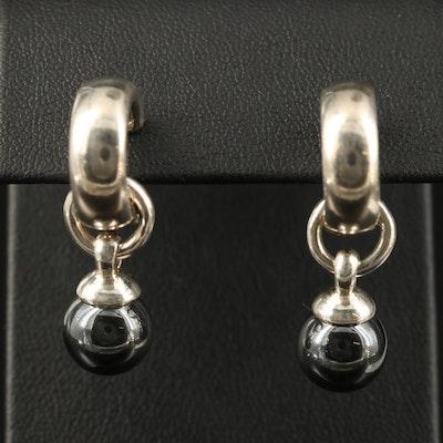 Tiffany & Co. Sterling Hoop Earrings with Faux Hematite Dangles