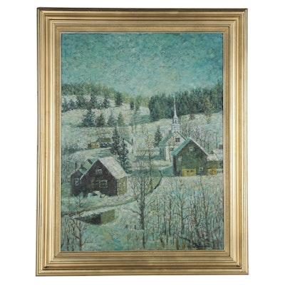 Cesare Ricciardi Impasto Oil Painting of Snowy Landscape, Mid-20th Century