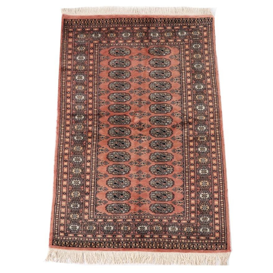 3'1 x 5'5 Hand-Knotted Pakistani Bokhara Wool Area Rug
