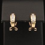 18K Channel Set Diamond J-Hoop Earrings