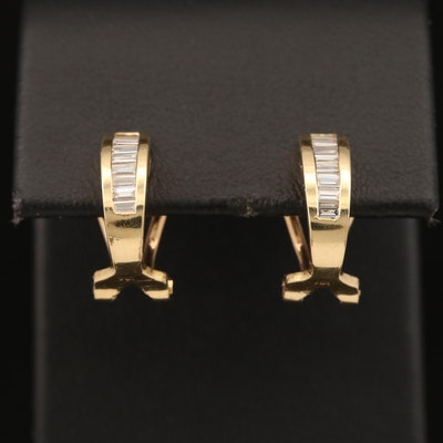 18K Channel Set Diamond J-Hoop Earrings