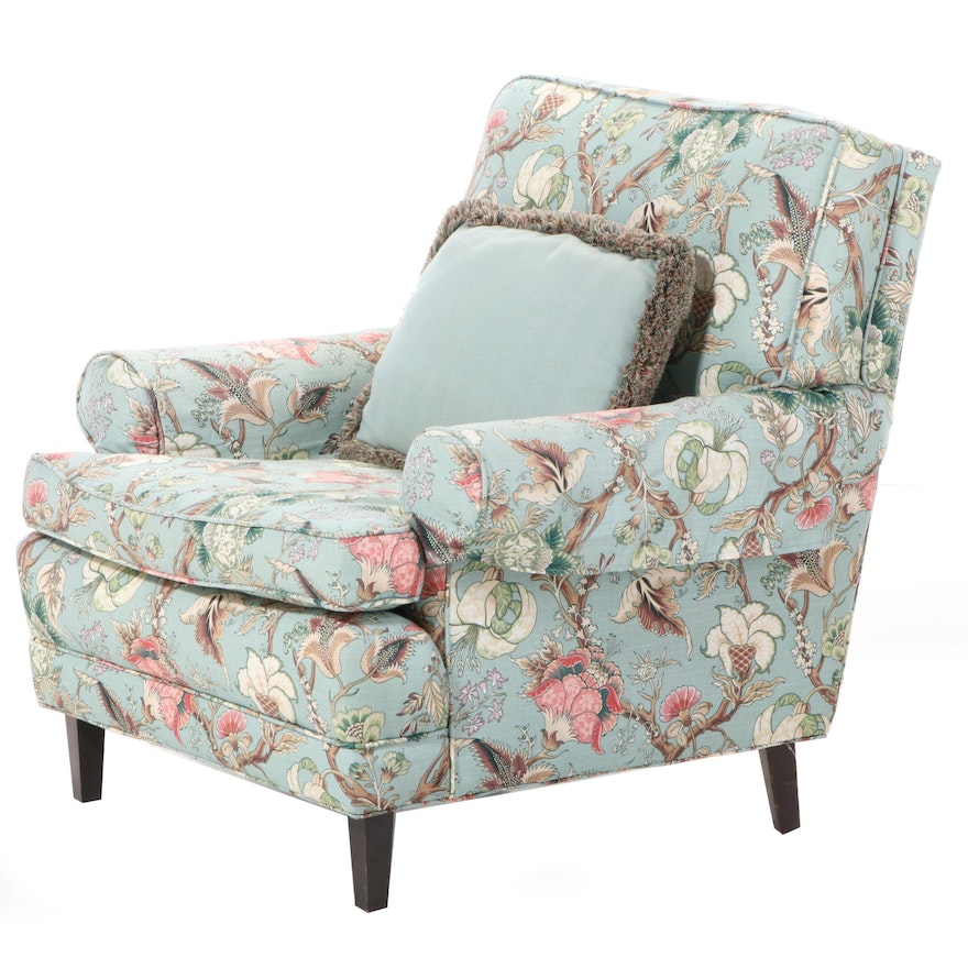 Contemporary Floral Upholstered Armchair