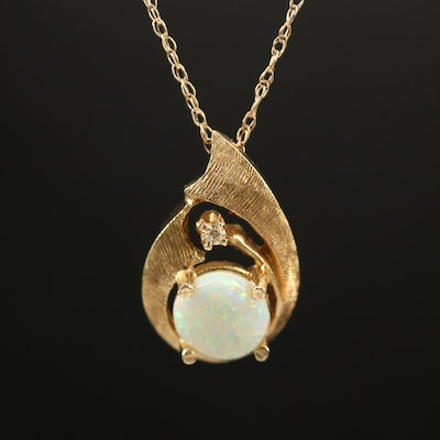 14K Opal and Diamond Necklace