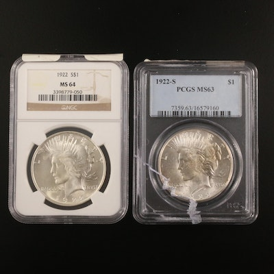 NGC Graded MS64 and PCGS Graded MS63 1922-S Silver Peace Dollars