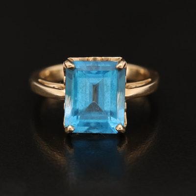 14K Swiss Blue Topaz Ring