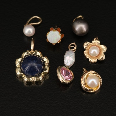 14K Pendant Selection Featuring Pearl and Gemstone Accents