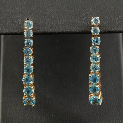 14K Graduated Topaz Dangle Earrings