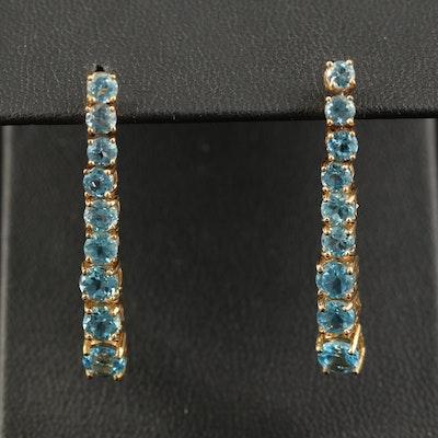 14K Graduated Topaz Dangle Earrings