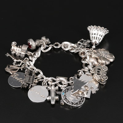 Sterling Silver Glass Charm Bracelet