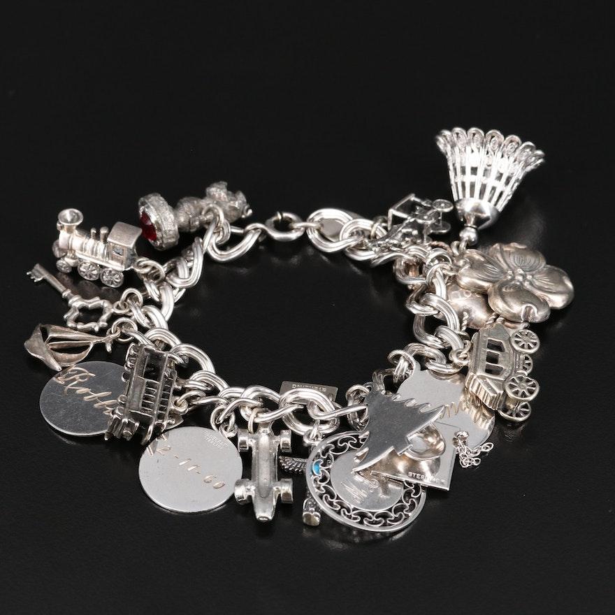 Sterling Silver Glass Charm Bracelet
