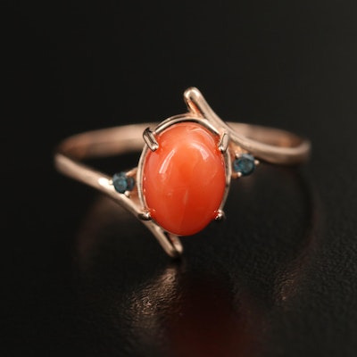 14K Coral Bypass Ring with Diamond Accents