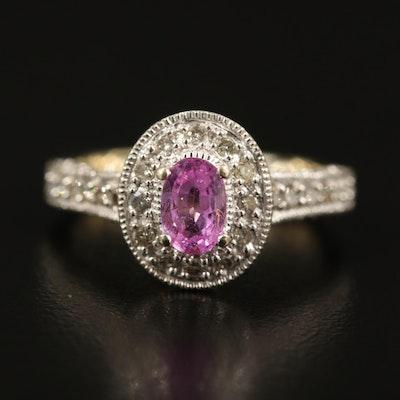 14K Sapphire and Diamond Gallery Ring