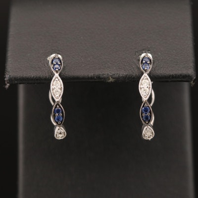 14K Diamond and Sapphire Hoop Earrings