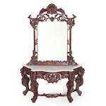 Rococo Style Carved Rosewood Marble Top Pier Table and Mirror, Late 20th Century