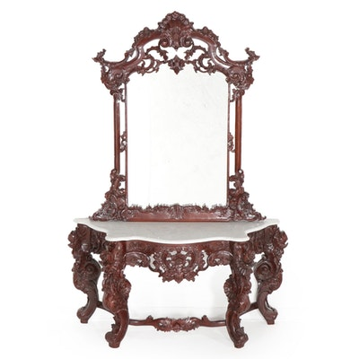 Rococo Style Carved Marble Top Pier Table and Mirror, Late 20th Century