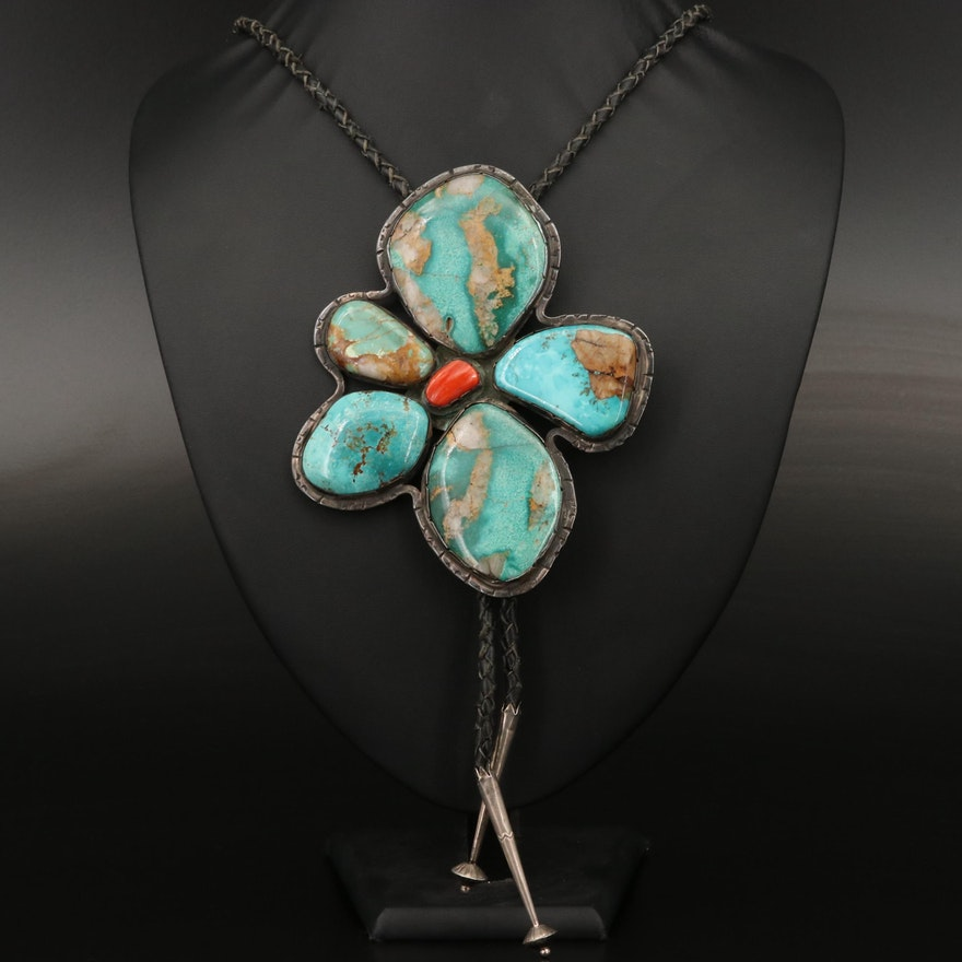 Western Sterling Turquoise and Coral Bolo Tie