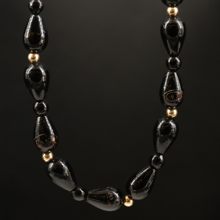 14K Black Coral Beaded Necklace