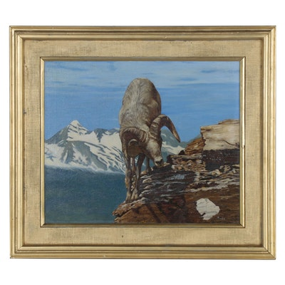 H. James Oil Painting of Ram Scaling a Mountain, Late 20th Century