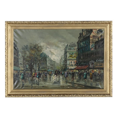 Impressionistic Parisienne Street Scene Oil Painting, Late 20th Century