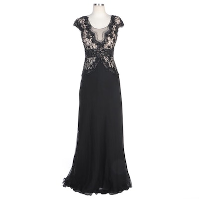 Alberto Makali Beaded Lace Bodice Gown