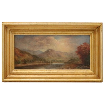 Landscape Painting of Mountains, Early 20th Century