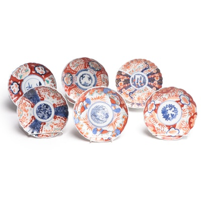 Japanese Imari Scalloped Edge Porcelain Plates, Antique