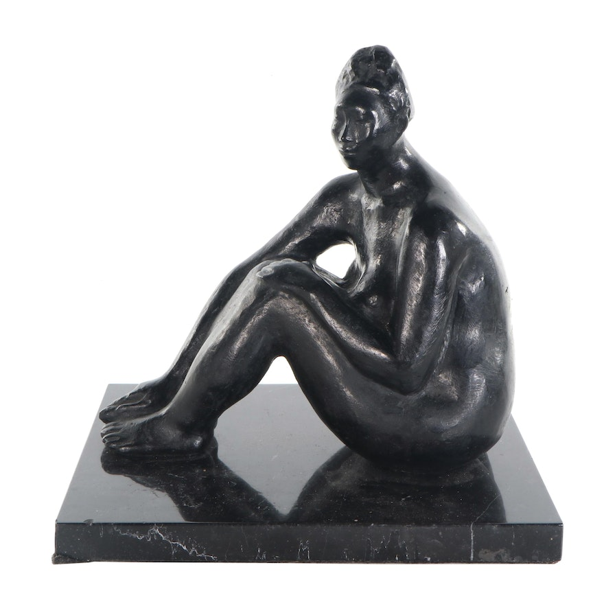 Jorge Luis Cuevas Bronze Sculpture of Seated Figure, Late 20th Century