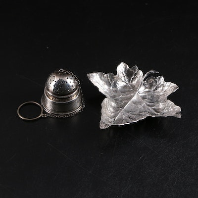Buccellati Sterling Silver Dish with Paye & Baker Strainer and Coin Silver Stand