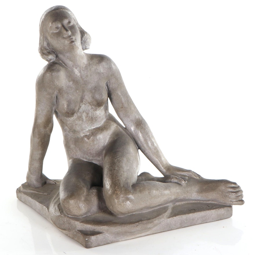Belgian Figural Gray Ceramic Sculpture, Early to Mid 20th Century