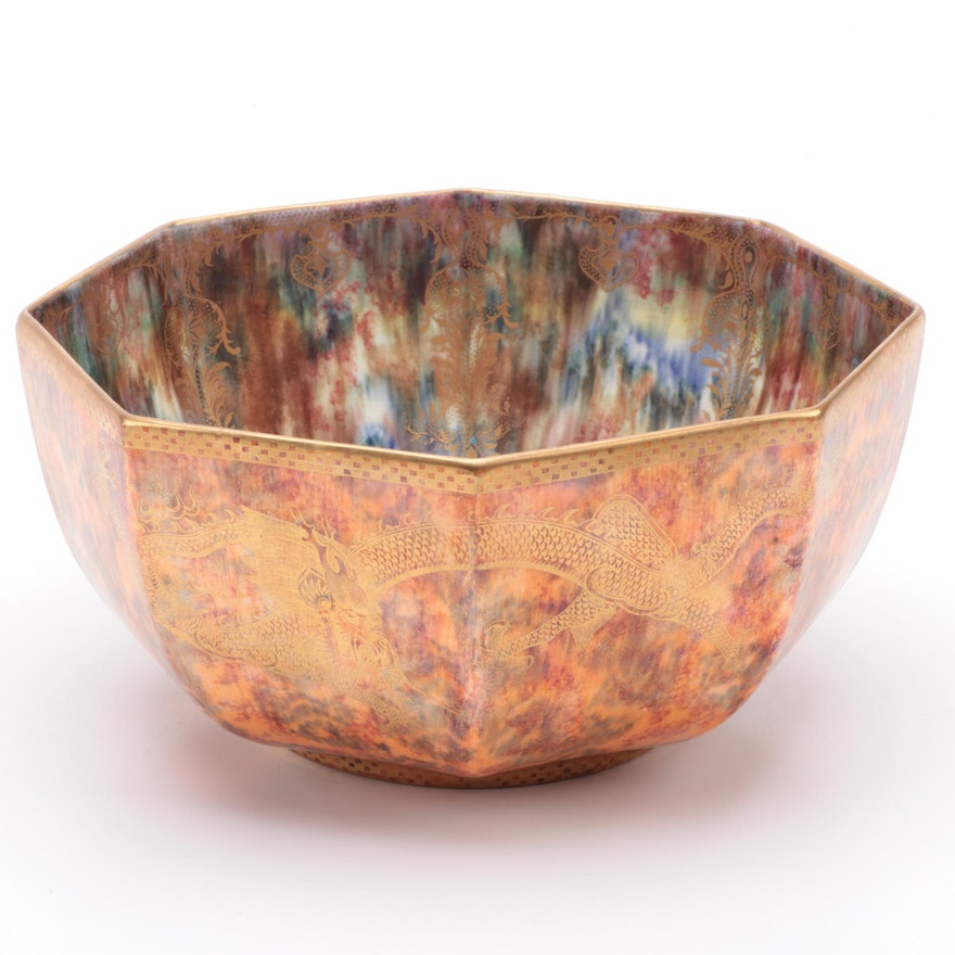 "Wedgwood ""Fairyland"" Dragon Luster Octagonal Centerpiece Bowl, Early 20th C."