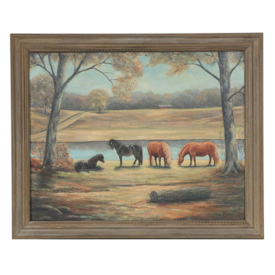 Landscape Oil Painting with Grazing Ponies, Late 20th Century