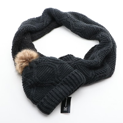 INC International Concepts Black Knit Beanie and Infinity Scarf