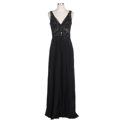 Alberto Makali Black Beaded Appliqué Sleeveless Evening Gown