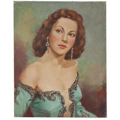 Jean Walker Portrait Oil Painting, Mid-20th Century