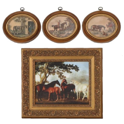 Equestrian Themed Hand-Colored Lithographs and Giclée