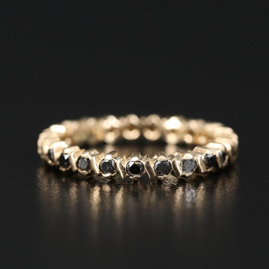 14K Black Diamond Eternity Band