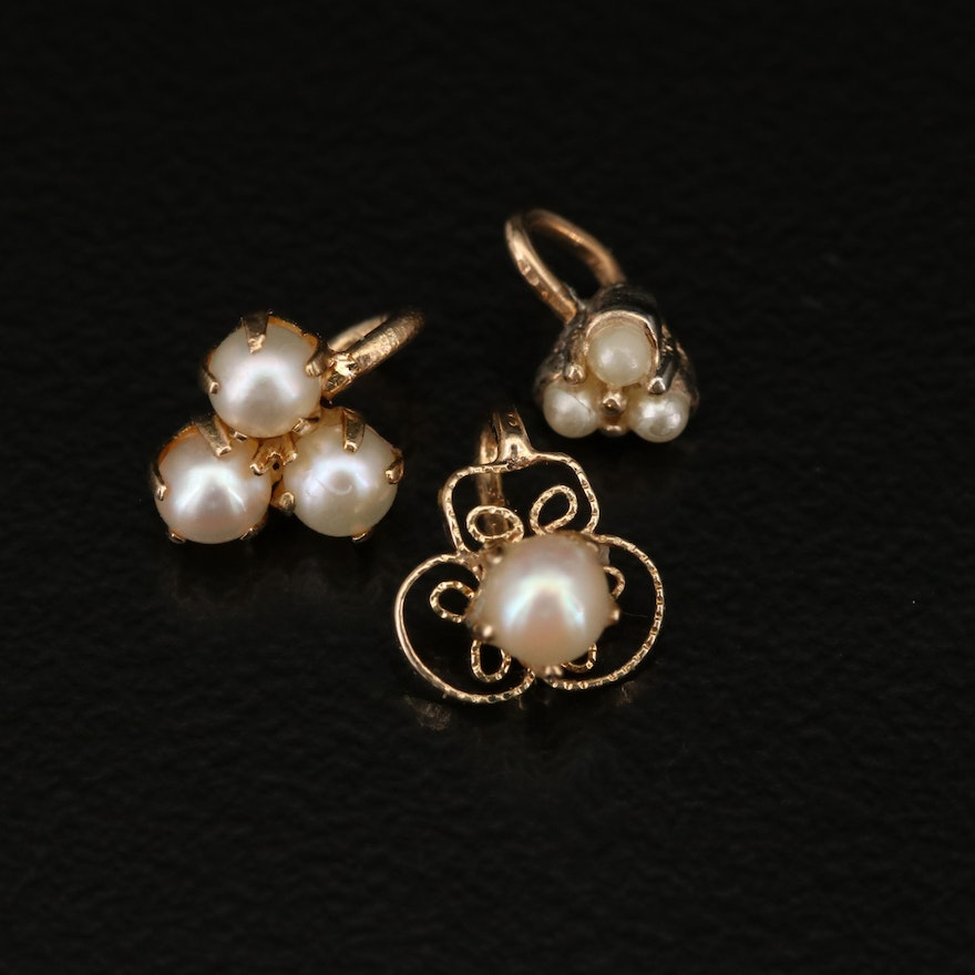 14K Pearl Pendants with Faux Pearl Pendant