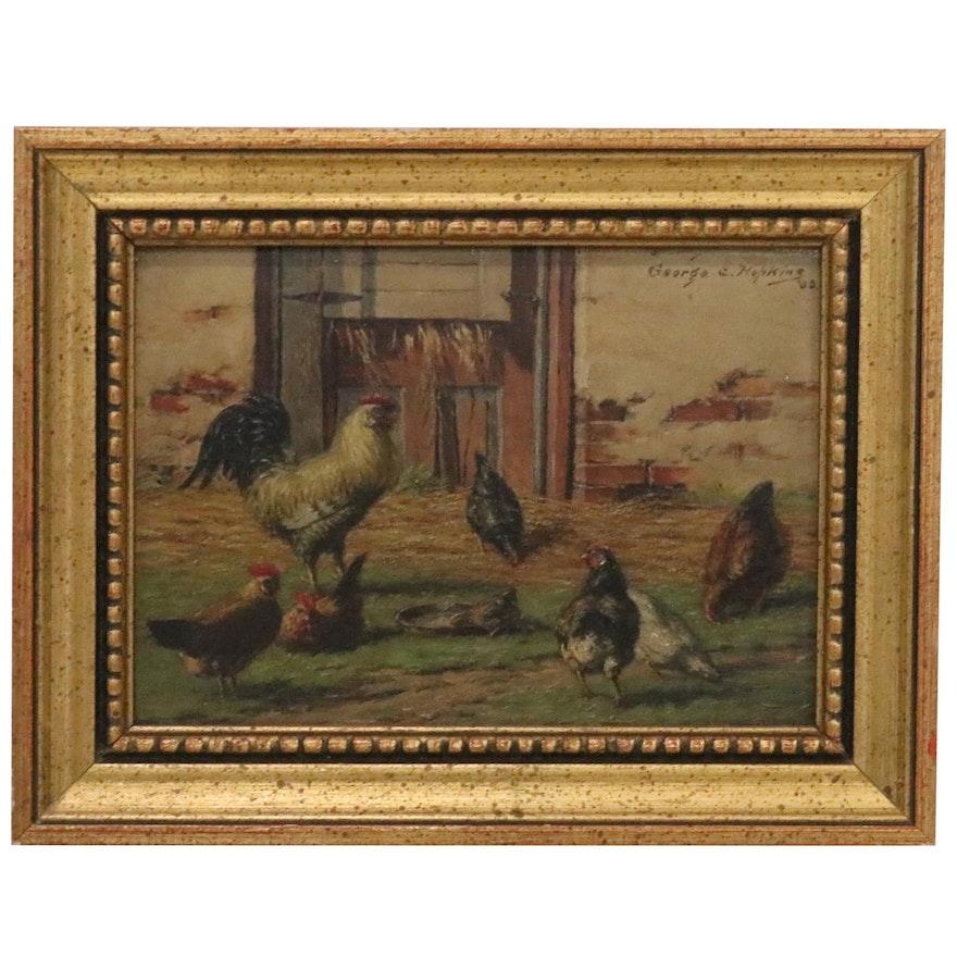 "George Edward Hopkins Oil Painting ""Barnyard Chickens,"" 1903"