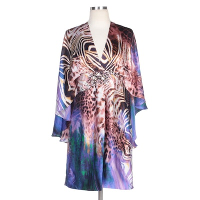 Alberto Makali Printed Silk Caplet Cocktail Dress